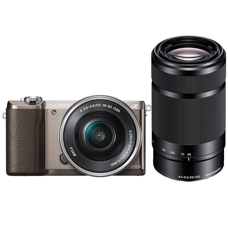 索尼(SONY)ILCE-5100L APS-C双镜头超长焦段微单套机 棕色(2430万有效像素 16-50/55-210 a5100/α5100)